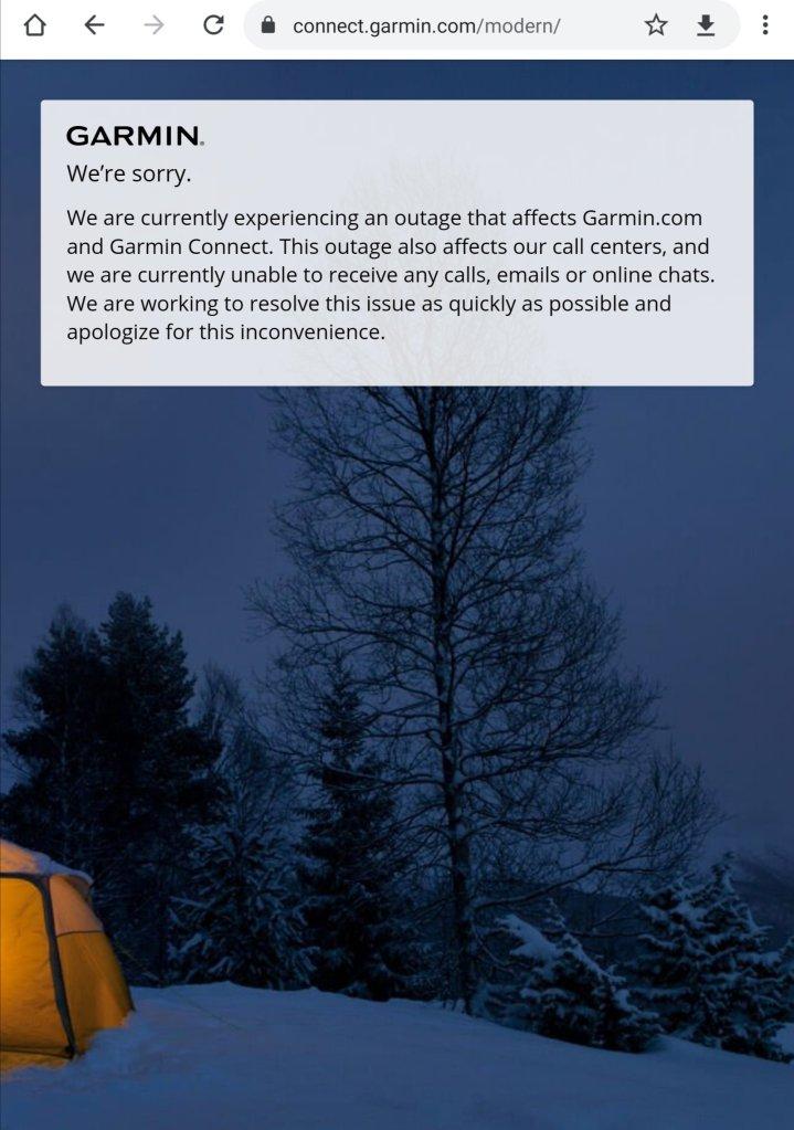 Garmin Ausfall Homepage