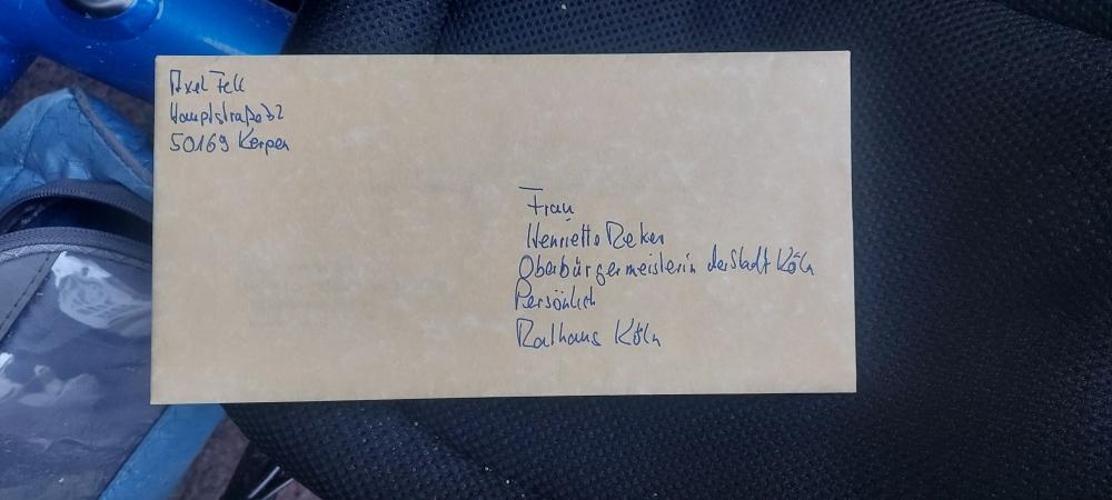 #BlauerSkorpion , #Horrem, #Brauweiler, #Widdersdorf, #VenloerStraße, #Hohenzollernbrücke, #Deutzerbrücke, #HistorischesRathaus, #Köln, #BriefanFrauReker, #AachenerStraße,