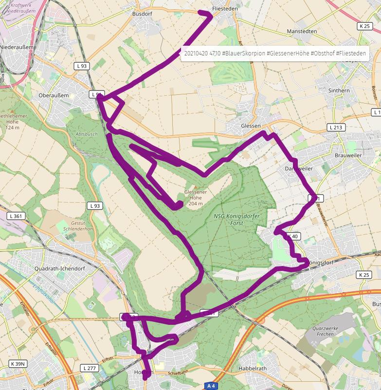 20210420 47,10 #BlauerSkorpion #GlessenerHöhe #Obsthof #Fliesteden #umap #osm