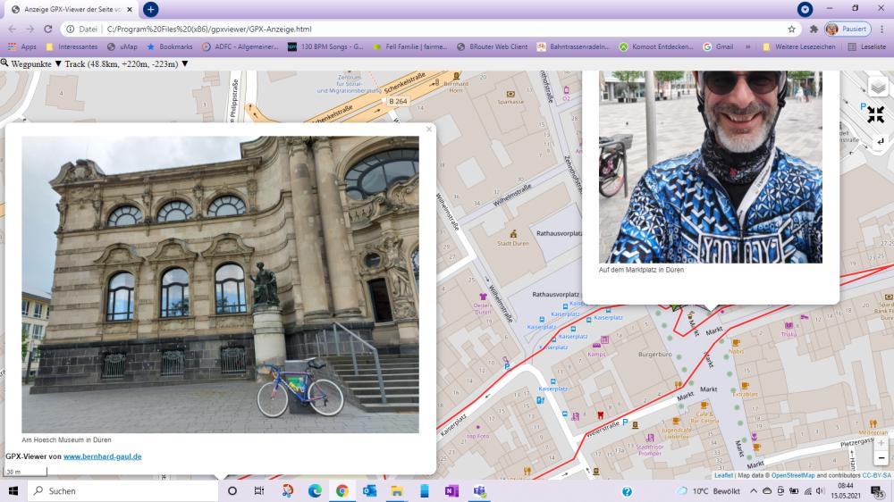 gpxviewer beispiel cm düren bilder Critical Mass Düren Mai 2021 CMDN Marktplatz Düren leopüold hoesch museum