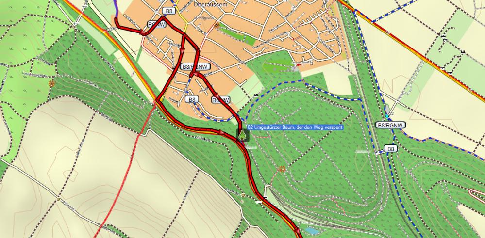 02 #basecamp, #openfietsmap, #fortunastraße, #bypass, #Baum, #Sperrung, #Hindernis, #unpassierbar,