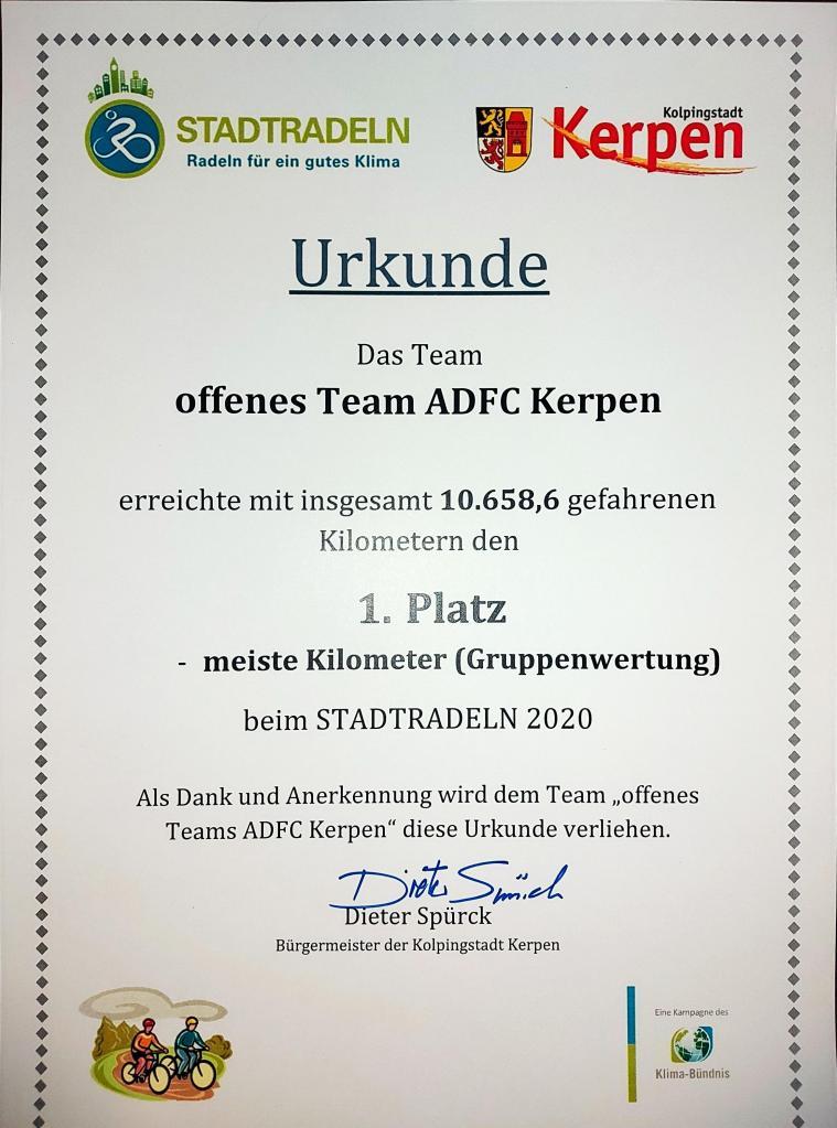 #Urkunde, #Stadtradeln, #Kerpen, #ADFC,